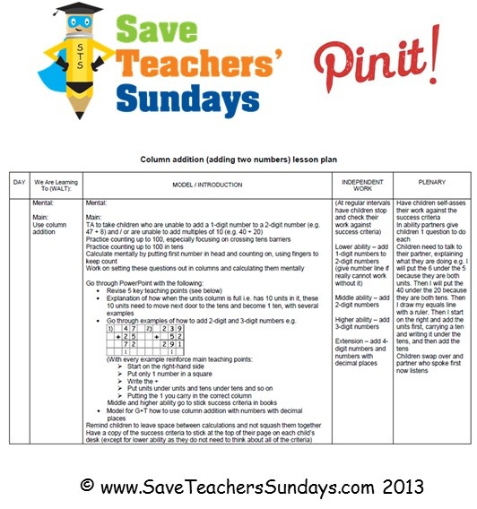 This is an example of the lesson plans that are available on http://www.saveteacherssundays.com/