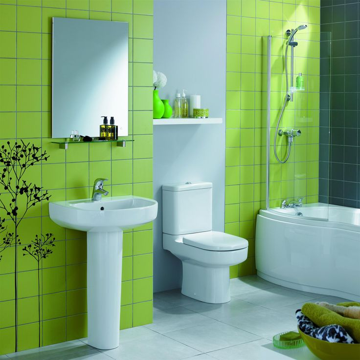 84 best green bathrooms images on pinterest green for Green and black bathroom ideas