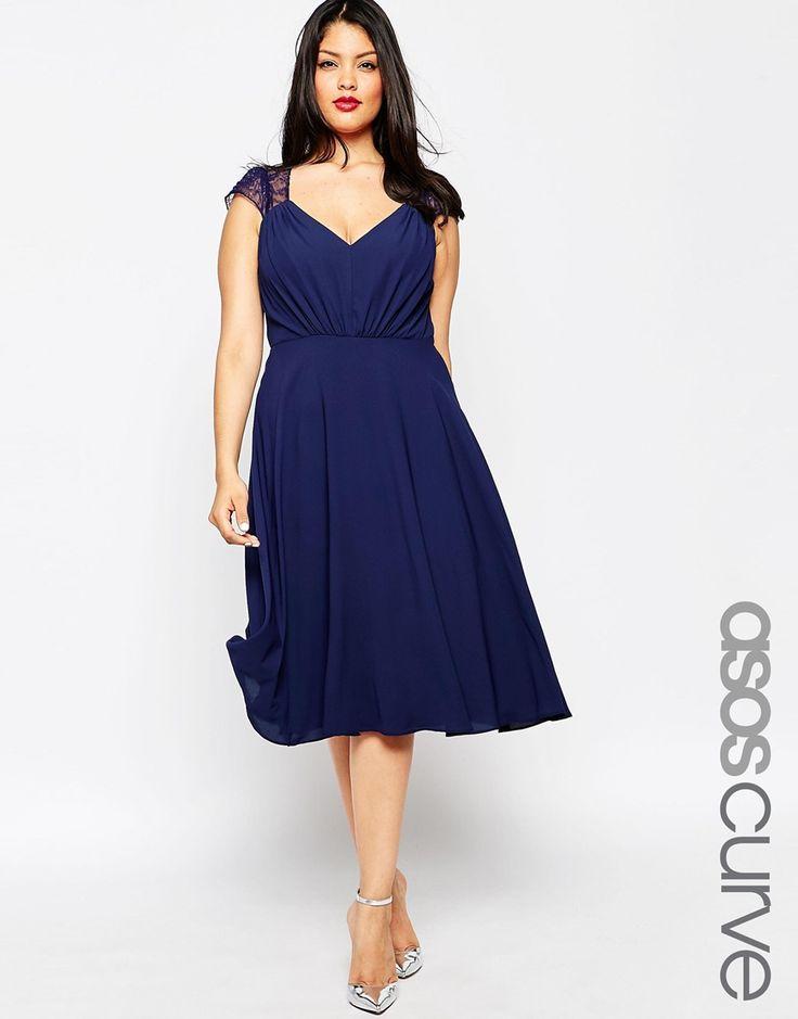 ASOS CURVE Kate Lace Midi Dress - Navy £45.00 AT vintagedancer.com