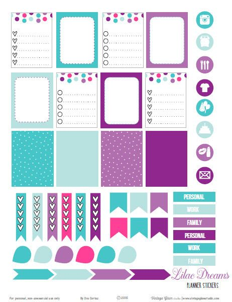 Free Printable Lilac Dreams Planner Stickers from Vintage Glam Studio