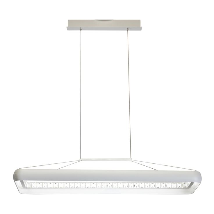 Elan Skies 12.25-in W 1-Light White Integrated LED Kitchen Island Light with Frosted Shade