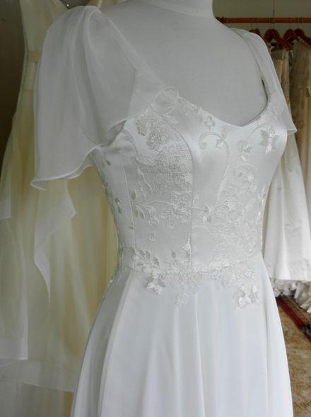 Fresh out of the workshop: Pretty lace and silk crepe wedding dress. #laceandsilk #prettydesignerweddingdress #readytowear