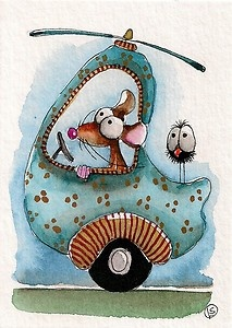 Mouse is taking the little crow on a helicopter ride... Love iit