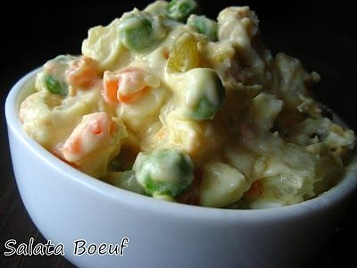 Romanian Potato Salad...had this at a party and it is absolutely amazing! She used beef and had no peas which was great cause I hate them! I will totally be making this dish OFTEN