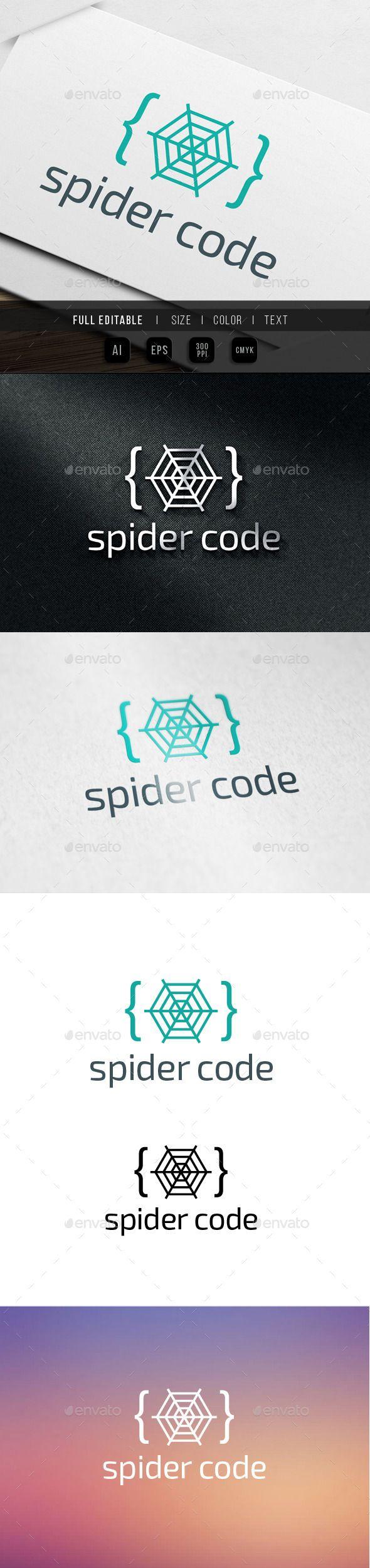Spider Code Logo — Vector EPS #virus #html • Available here → https://graphicriver.net/item/spider-code-logo/9915470?ref=pxcr