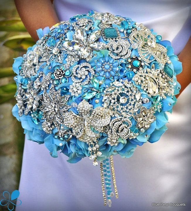 turquoise bouquets | Empress Turquoise - Blue Petyl Bouquets