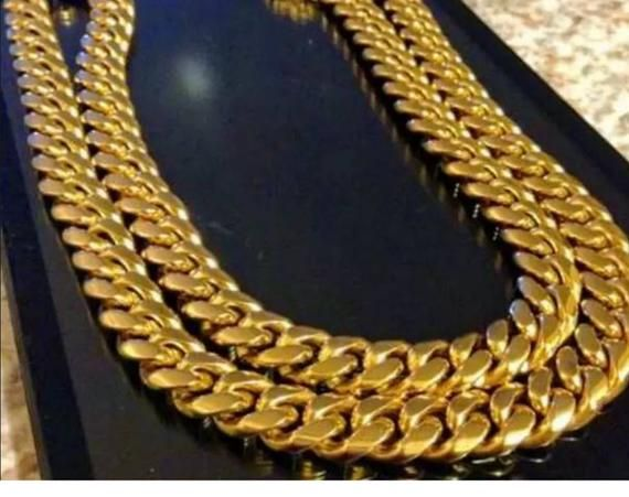 Men/'s 18k  Gold  Filled Cuban  Necklace 16/'/' inches