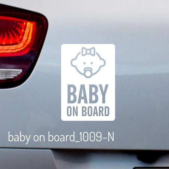 BABY ON BOARD Window Bumper Car Sign Sticker vinyl safety New child WHITE