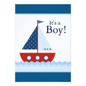 Adorable red, white and blue sailboat baby shower invitation has a sailboat and cute spouting whale. This cute red and blue sailboat baby shower invitation is easily customized for your event by adding your event details, font style, font size & color, and wording.