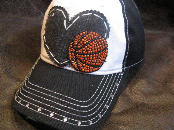 LOVE basketball mom distressed rhinestone ball cap