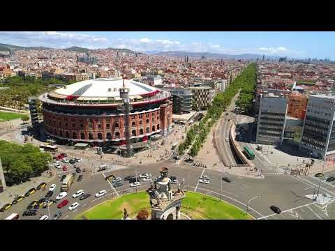 Aerial View of Espanya Square Barcelona Spain (Stock Footage)