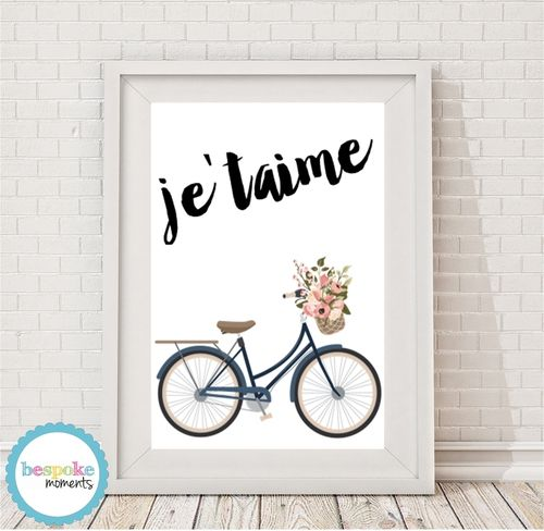 Je'taime Vintage Bicycle Print by Bespoke Moments. Worldwide Shipping Available.