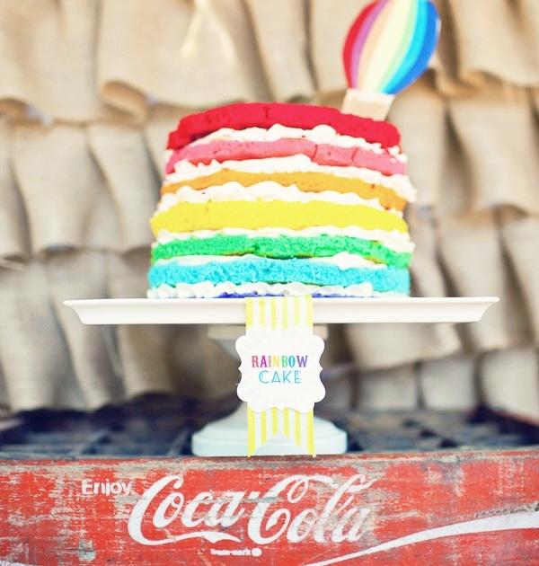 1st birthday cake Rainbow parties, Hot air balloon party