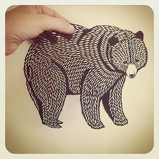 Grizzly Paper Cutting by Emily Brown of bird mafia, via all things paper