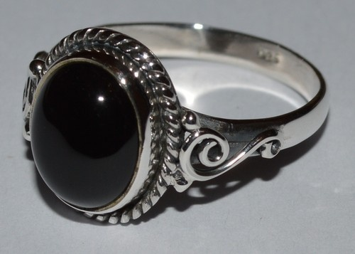 925 Sterling Silver Ethnic Ring 11x9mm Black Onyx: Secrets of the night