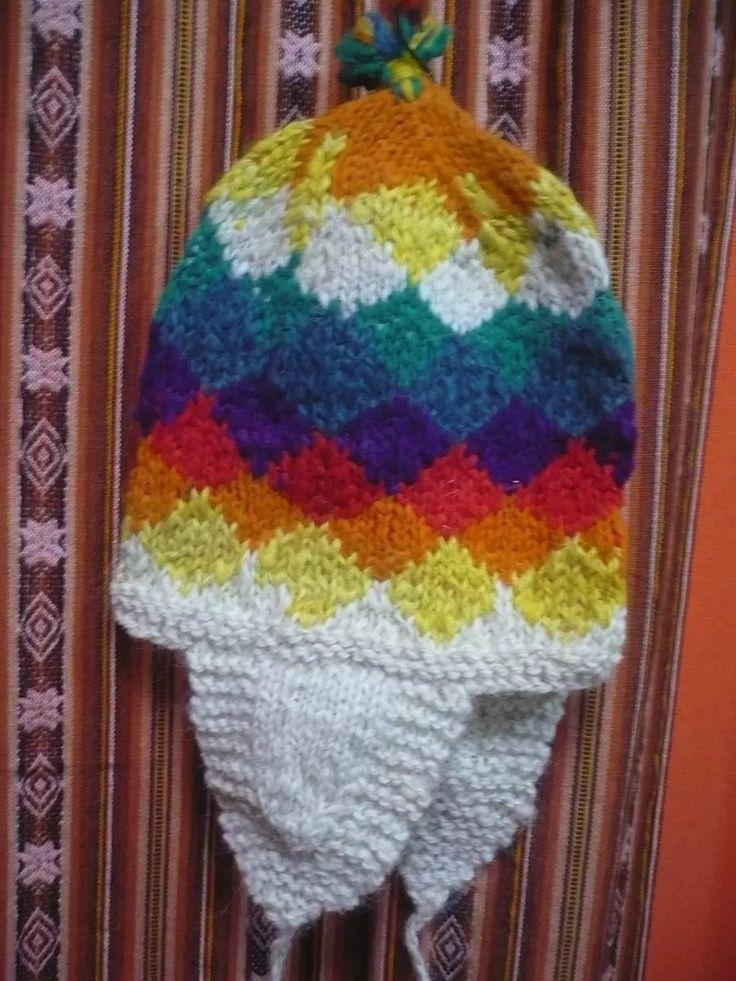 gorro coya andino tejido a mano lana rústica wipala bolivia