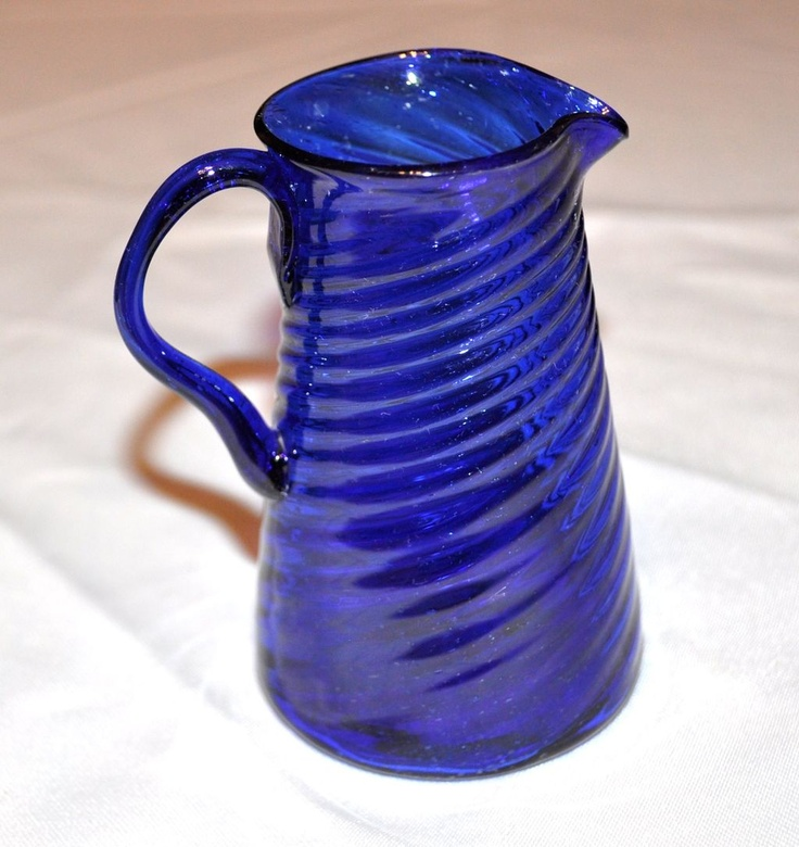 Blue Glass Creamer from secollectibles on Ruby Lane