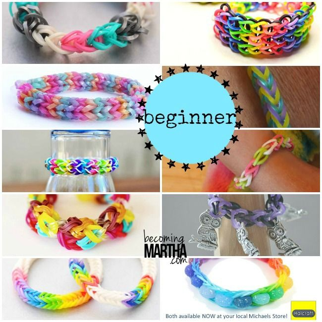 Rainbow Loom  Beginner Bracelet Patterns… to Advanced Patterns. Save this link for the kiddos! - More on loom bands + charms visit: http://www.overtherainbowloombands.com