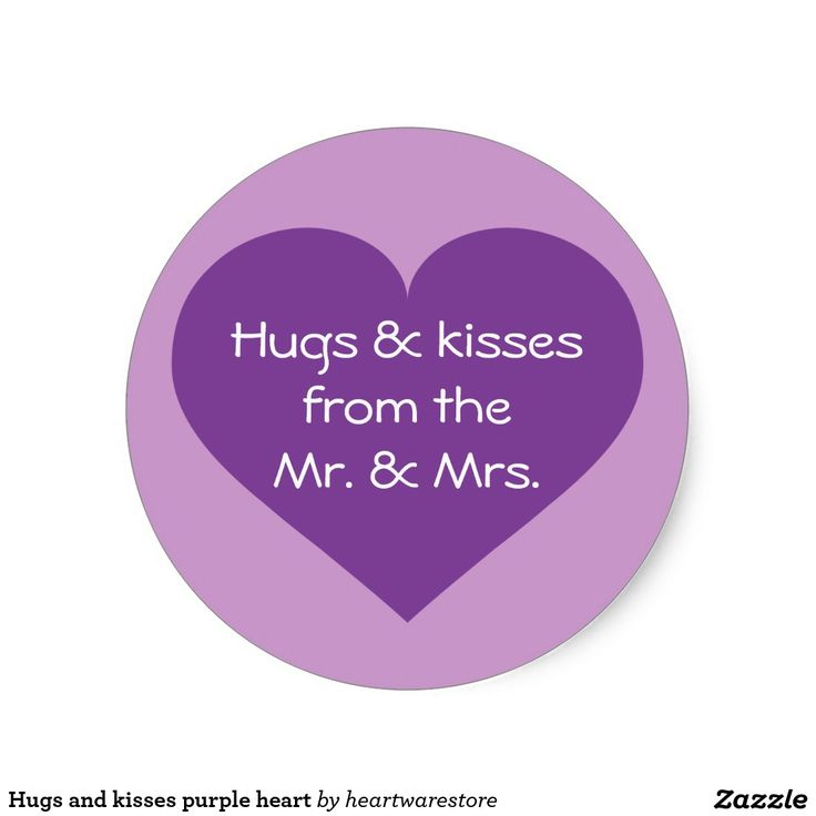 Hugs and kisses purple heart classic round sticker.  Great addition to wedding party favors. #heartwarestore => http://www.zazzle.com/hugs_and_kisses_purple_heart_classic_round_sticker-217794311090395408?CMPN=shareicon&lang=en&rf=238590879371532555&tc=pinZHpurpleheartstickerHugsandKisses