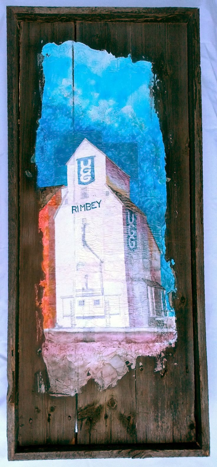 Ed's Elevator 1 Mixed media on barnwood.