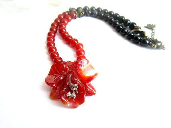 Gemstone flower necklace carnelian necklace by MalinaCapricciosa