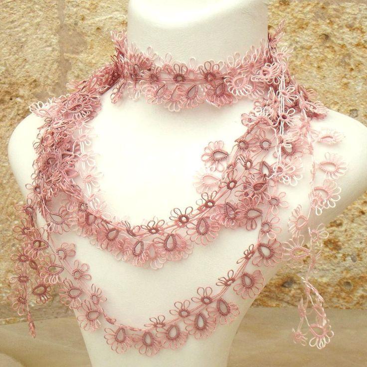 Turkish OYA Lace - Tatting lace Lariat Pink - Crocheted Jewelry ...