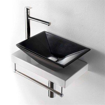 Prisma II - Lille sort håndvask i flot design med bordplade.