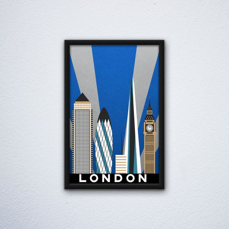 "London Skyline Poster ft. Big Ben / Elizabeth Tower, the Shard, One Canada Square, & 30 St. Mary Axe  (12"" x 18"") by WEPdesign on Etsy"