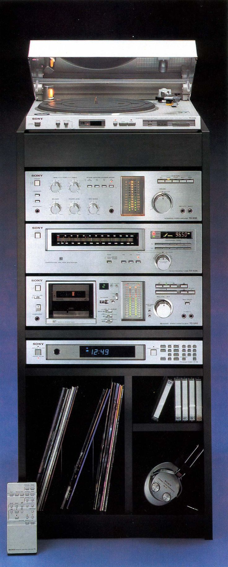Knock, Knock. Who's there? The 80's. Mass market rack system. What acid-washed jeans were to haute couture.  PS-636 Sony PT-79R, Sony ST-636, Sony Studio 7080, Sony TA-636, Sony TC-U60. Check please (and a bottle of Pepto-Bismol)!
