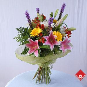 French Garden Flowers featuring Sorbonne Lily, Liatris, Alstromeria and White Anastasia