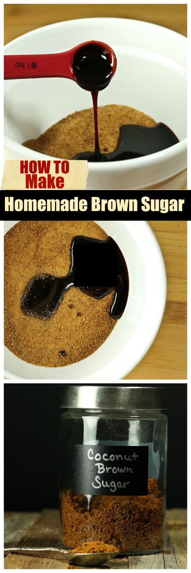 How To Make Homemade Brown Sugar (3 Flavors)  in just about a minute and 2 basic ingredients!