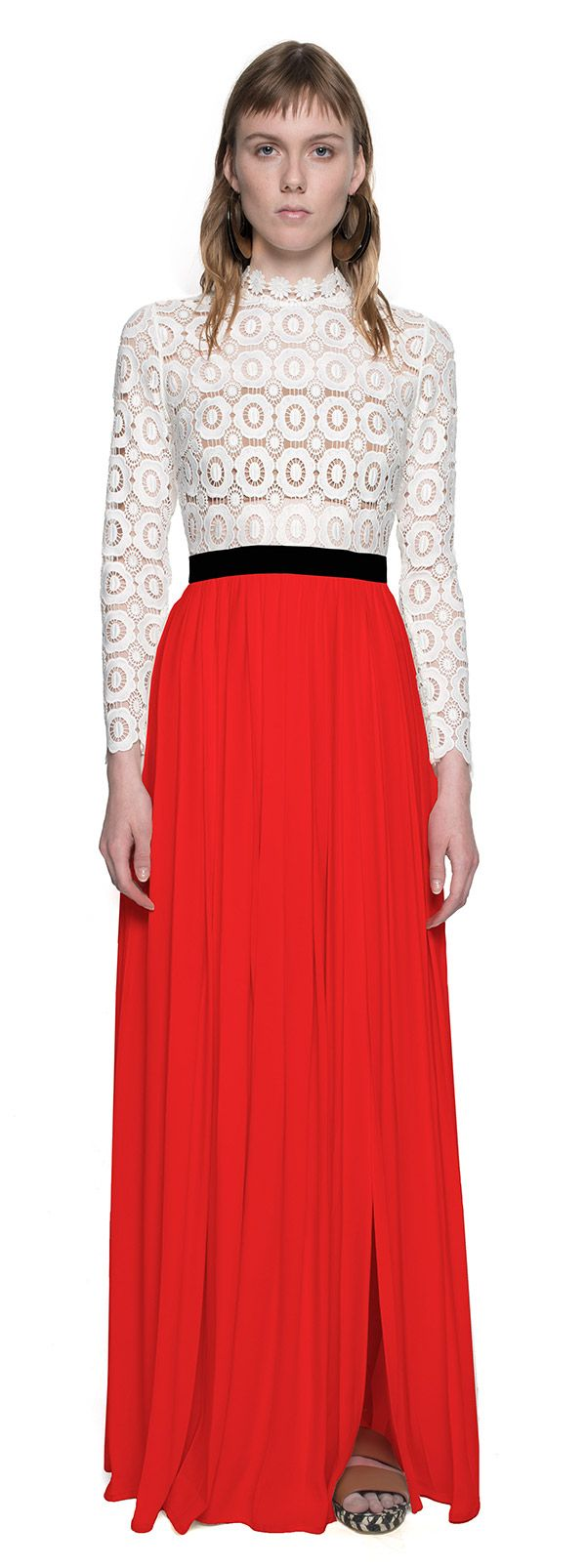 Pleated Crochet Floral Maxi Dress in Red
