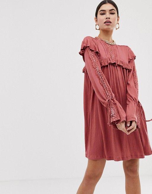 7854316377911 ASOS DESIGN | ASOS DESIGN high neck lace insert crinkle swing dress