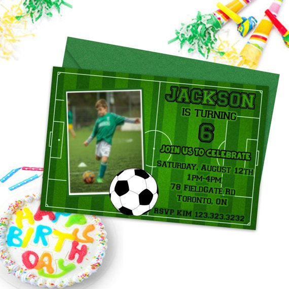 Soccer Party Invitations Kids Birthday Party by PrintYourInvite #soccer #soccerinvitations #invitations #kidspartyinvites #sportinvitations #sportsparty #birthdayinvitations #birthdayinvites