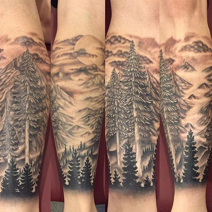 Tattoo by Chris Greenwald, Super Genius Tattoo, Seattle WA tattoos, tattoo, seattle tattoos, leg tattoo, leg sleeve, nature tattoo, pnw tattoo, black and grey tattoo, evergreen tattoo, mountains tattoo