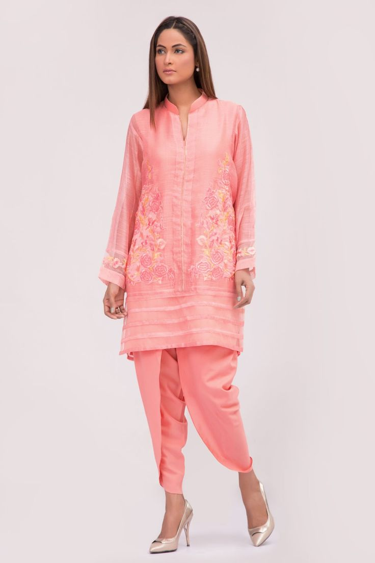$124 Pink Shirt with Tulip Pants - JV Couture - Designer