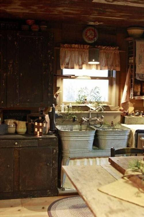 real rustic....I can only dream about those sinks!