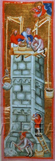 Turmbau zu Babel Kunstwerk: Buchmalerei ; Illustrationszyklus Chronik ; Miniatur ; Südtirol(?) , Bayern(?) , Österreich(?)  Dokumentation: 1375 ; 1400 ; Wien ; Österreich ; Wien ; Österreichische Nationalbibliothek ; cod. 2768 ; fol. 44v  Anmerkungen: Heinrich von München. Weltchronik