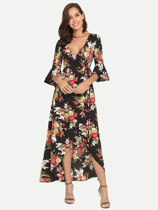 7c25c2944 Vinfemass V-neck Bohemian Floral Printed Flare Sleeve Long Dress in ...