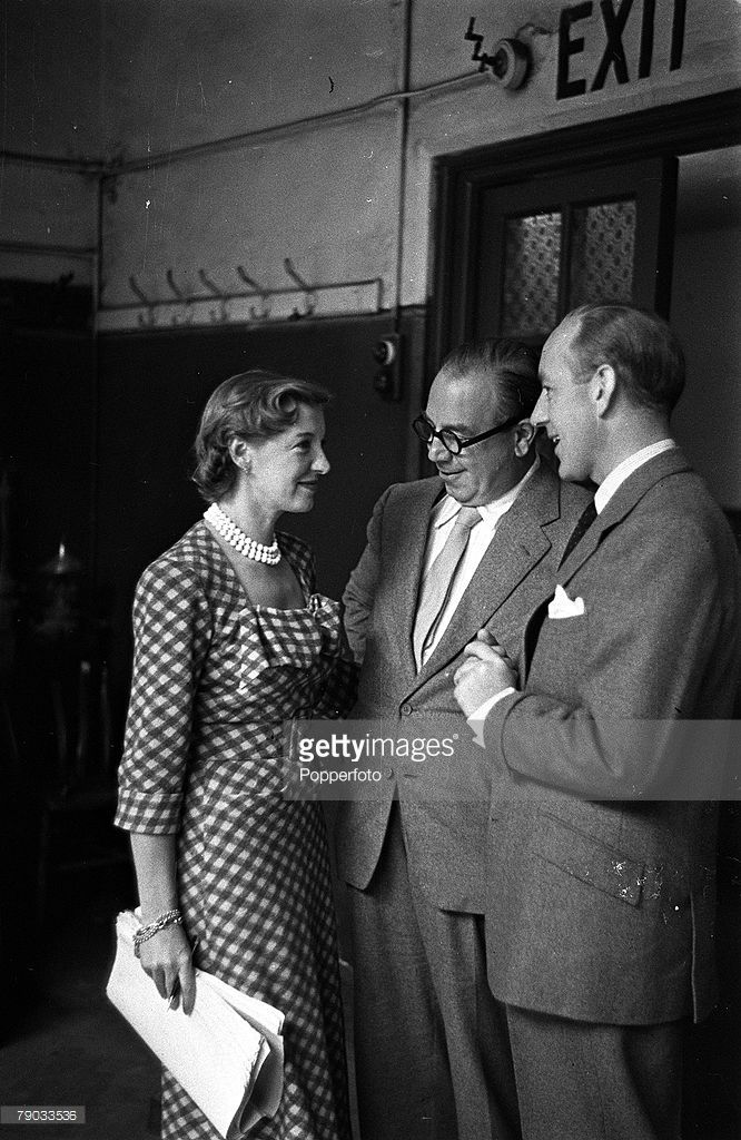 Kay Walsh, J B Priestley and Alec Guinness on the set of Last Holiday