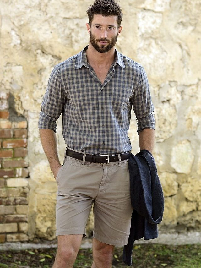 Personally, don't like the 'tucked into shorts' bit...but shirt fit, pattern and rolled up sleeves I like for a casual look