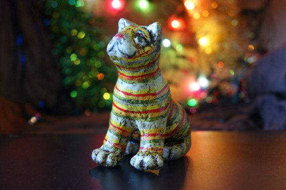 Christmas tree toy the cat is fun Christmas by LoveBeadJewerly