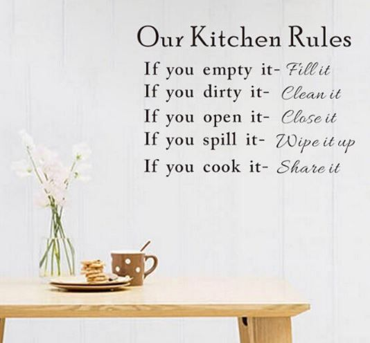 Wall Decal - OUR KITCHEN RULES - black letters - Kitchen - RemovableWall Decal