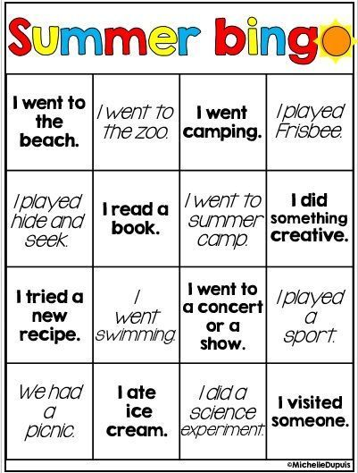 FREE Summer bingo - FUN FUN!  This would be a great activity for the 1st week of school - Have students play in small groups, and as they play, share stories related to each square!