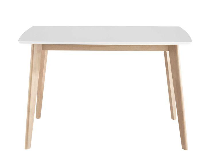 Table de salle à manger en bois blanche L 120 cm Mia