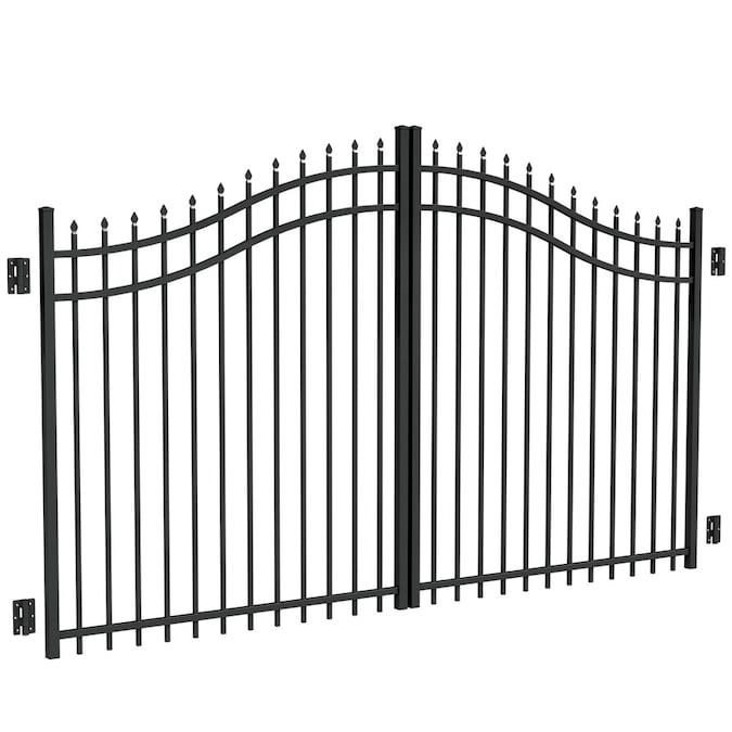 Freedom Common 10 Ft Actual 10 Ft Black Aluminum Driveway Gate Lowes Com In 2020 Aluminum Driveway Gates Fencing Material Fence Styles