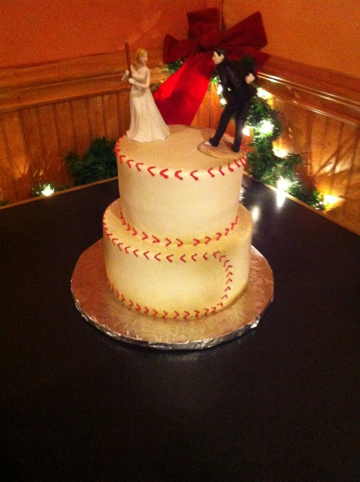 Baseball wedding cake. Rehearsal dinner cake. Bride and groom wedding topper.