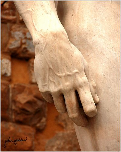 "The hand of Michaelangelo's David | Michaelangelo was recognized for his attention to detail, and craftsmanship, seen here in the ""veins"" of one of his most famous sculptures."