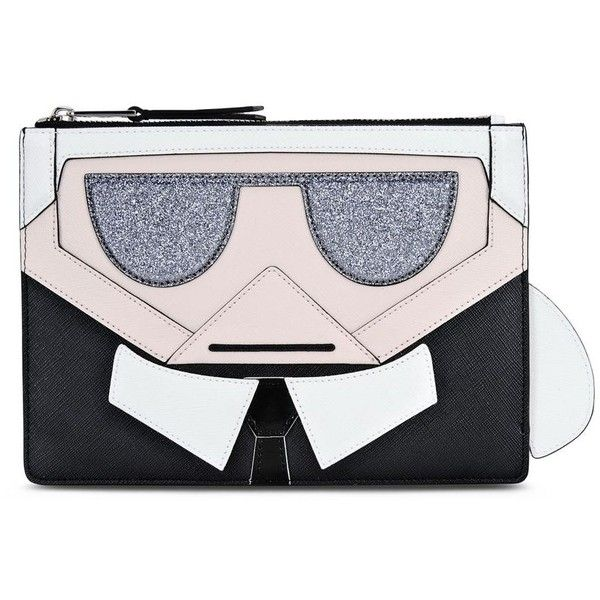 Karl Lagerfeld K/Kocktail Karl Pouch ($155) ❤ liked on Polyvore featuring bags, handbags, clutches, black, glitter handbag, karl lagerfeld handbags, zipper pouch, glitter purse and pouch purse