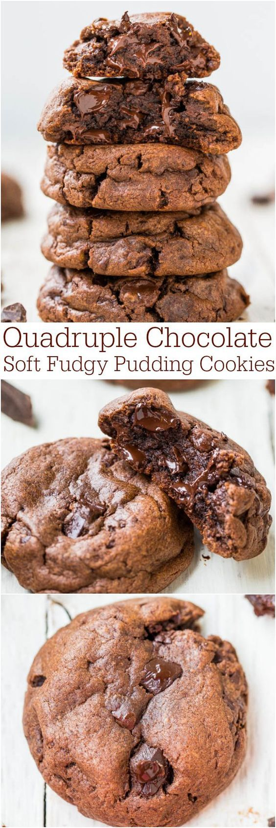 Quadruple Chocolate Soft Fudgy Pudding Cookies - Super soft and loaded with chocolate!